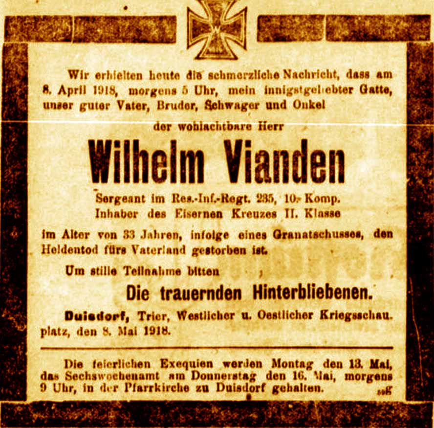 Bonn 1914 1918 Mai 1918